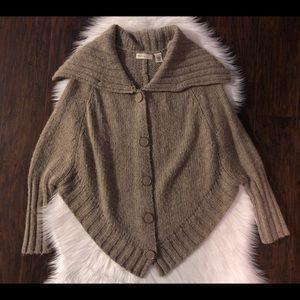 Anthropologie Wool Oatmeal Poncho Sweater